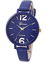 Womens Geneva Watches,COOKI Unique Analog Fashion Lady Watches Female watches on Sale Casual Wrist Watches for Women,Round Dial Case Comfortable Faux Leather Watch (Deep Blue)