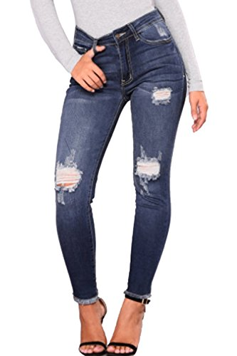 Zojuyozio Mujer Casual Ripped Agujero Apretado Tobillo Denmin Pantalones Pantalones Jeans Plus Size Azul