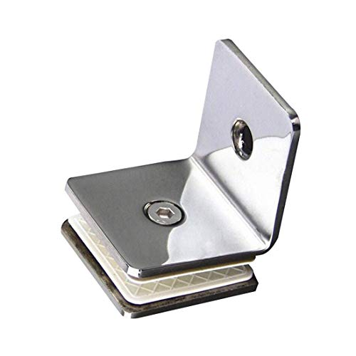 Ranbo 304 Stainless Steel 90 Degree Square Frameless Glass Clamp Connector/Shower Door Fixed Panel/Glass-to-Glass Corner Clamp,for 5/16 to 1/2 (8 to 12 mm) Glass Thickness, 2-PCS Chrome (90Degree)