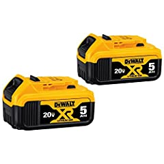DEWALT DCB205 20V MAX XR 5.0Ah Lithium Ion Battery 2-Pack is a Premium XR Lithium Ion pack that provides up to 60% more capacity than standard 20V MAX battery pack (DCB200). This unit is a 5.0Ah high capactiy battery pack that has no memory a...