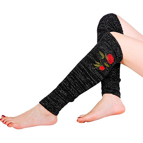 (Calf Leg Warmers,Hemlock Womens Girl's Warm Leg Socks Leggings Warmers Rose Stockings Boot Cuffs (Black))