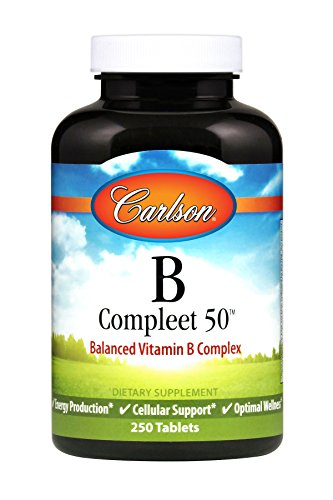 Carlson - B Compleet 50, Balanced Vitamin B Complex, Energy Production, Cellular Support & Optimal Wellness, 250 tablets