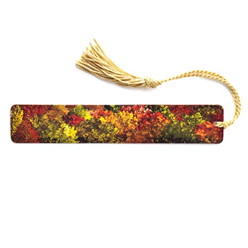 Aerial View of Fall Forest - Autumn - Wooden Hand Made Bookmark on Maple with Gold Tassel