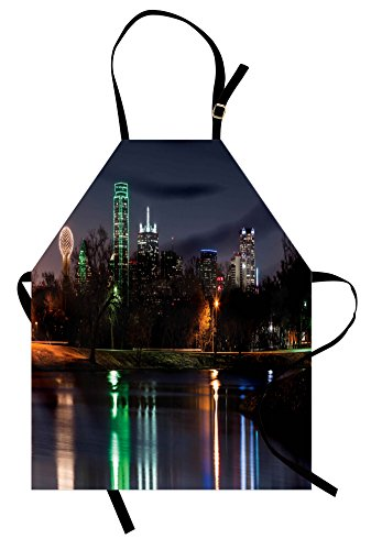 Lunarable USA Apron, Dallas City Skyline Reflected in a Lake Park with Trees at Night Landscape Scenery, Unisex Kitchen Bib Apron with Adjustable Neck for Cooking Baking Gardening, Multicolor (Christmas City Dallas Old Park)