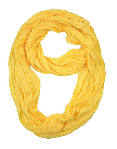 Yellow Feather Light (Plum Feathers Light Weight Silky Scrunch Solid Infinity Loop Silk Cotton Scarf (Yellow))