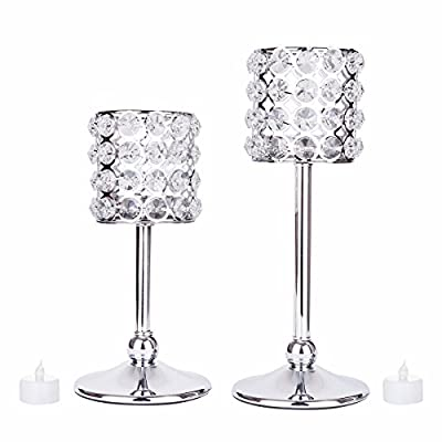 Feyarl Set of 2 pcs Sparkly Silver Cylindrical Crystal Candleholders, Votive Tea Light Holders for Wedding Centerpieces, Exquisite Gift, Festival Decoration