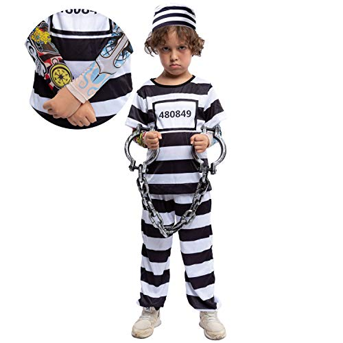 Funny 10 Year Old Halloween Costumes (Prisoner Jail Halloween Costume with Tattoo Sleeve and Toy Handcuffs for Kids (Large (10-12yr)))