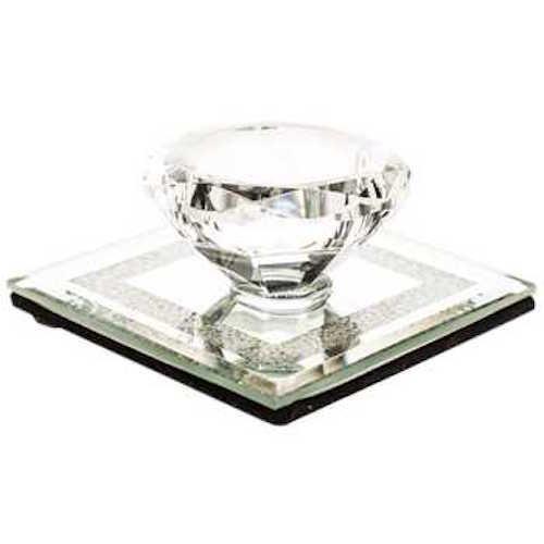 Coconut Grove Galleria Crystal Acrylic Diamond Tea Light Candle Holder Square Mirror Base Clear - Tealight Mirror