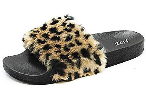 Posh Style Women's Fashion Comfy Soft Fur Slide, Size 7 ()