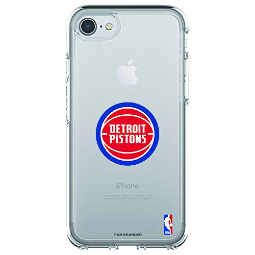 (Fan Brander NBA Clear Phone case with Primary Logo Design, Compatible with Apple iPhone 8 and iPhone 7 with OtterBox Symmetry Series (Detroit Pistons))
