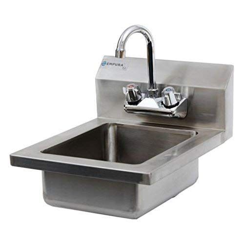 Commercial Stainless Steel Wall Mount Hand Washing Sink w/ Faucet (With SideSplash)