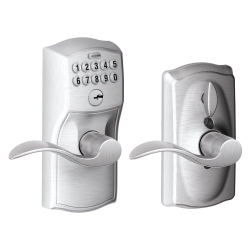 (Schlage FE595 CAM 626 Acc Camelot Keypad Entry with Flex-Lock and Accent Levers, Brushed Chrome)
