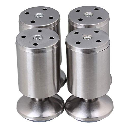 Furniture Cabinet Metal Legs Non-Adjustable Stainless Steel Kitchen Feet Round Blue and Silver 50 x 100mm Pack of 4