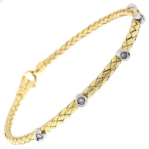 14k Yellow Gold .15ctw Bezel Set Diamond Woven Bracelet, 7.25 Inches