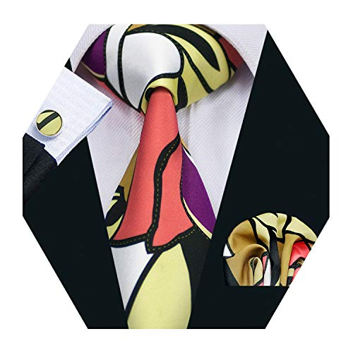 Barry.Wang Men Silk Tie Set New Designer Abstract Art Necktie Pocket Square Cufflinks