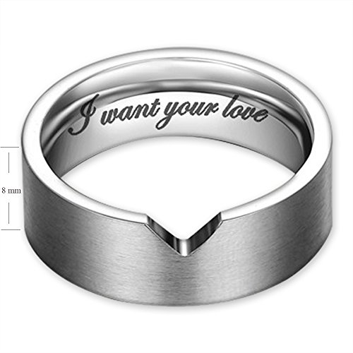 I Want Your Love Hollow Matching Heart Flat Couple Rings Mens