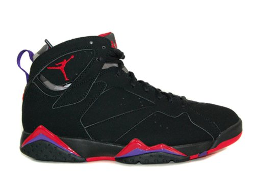 Nike Mens Air Jordan 7 Retro Raptor Black/True Red-Dark Charcoal-Purple Leather Basketball Shoes Size 11.5