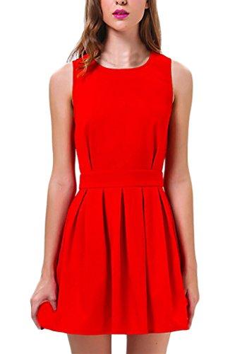 Damen Kleider Rundhalsausschnitt Uni-Farben Ballkleid Neues Kleid Ärmellos Sommerkleider Elegant Freizeitkleider