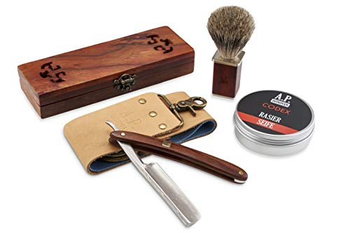 A.P. Donovan - Damascus straight razor complete set - with shaving brush, shaving soap and strop