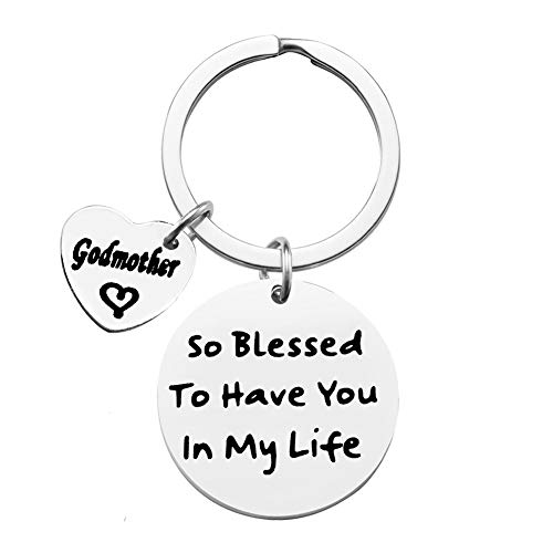 Godmother Keychain Gift Baptism Jewelry Godmother Birthday Christen Gift to Have You in My Life Godmother Keychain Baptism Jewelry for Godmother Gift from Godchild