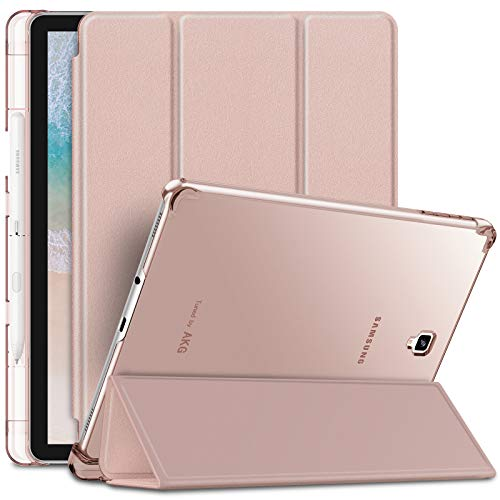 Infiland Tab S4 10.5 Case with S Pen Holder - Slim Stand Case with Translucent Back Protector Compatible with Samsung Galaxy Tab S4 10.5-inch 2018 Release Tablet Model SM-T830/T835, Rose-Gold
