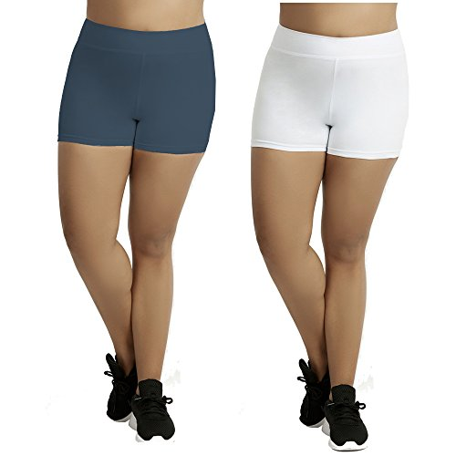 Popular Women's Plus Size Cotton Spandex Boyshorts - 2 Pack - White and Navy - 3X