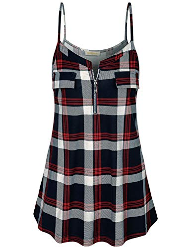 - Baikea Plaid Shirts for Women, Ladies Zipper V Neck Sleeveless Strappy Tank Tops with Fake Pockets Hip Length Activewear Camisole Simple Design Tunic Red Blue L