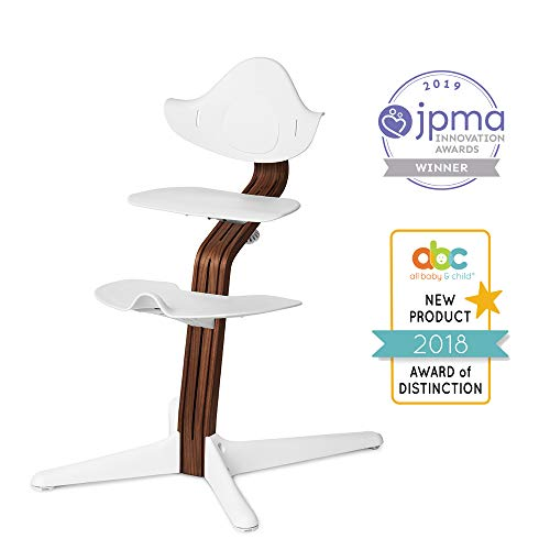 Nomi Chair, White - Premium Walnut Wood, Toddler Through Teenager and Beyond with Seamless Adjustability, Better Than a Dining Booster Seat, Cure for Fidgeting, Modern Design, Strong Wooden Stem
