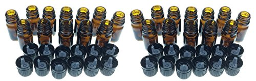 mEssentials 10 Ml Amber Glass Bottle W/Euro Dropper. Black Cap. 24 Pack