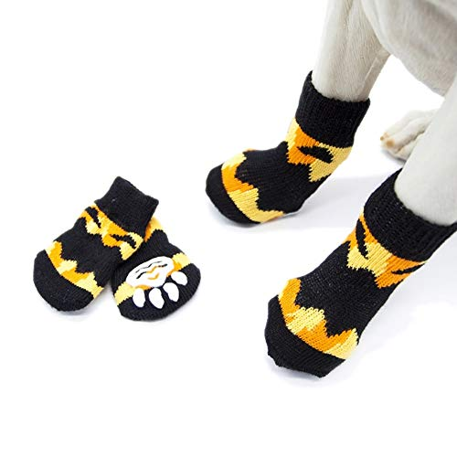 Stock Show 4Pcs Pet Knits Socks Pet Halloween Anti Slip Skid Bottom Socks Paw Protectors for Indoor Wear, Suitable for Puppy Small Medium Dogs Cats, -
