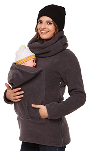 Happy Mama. Womens Maternity Fleece Hoodie Back Front Carrier Baby Holder. 030p (Graphite, US 4, S)
