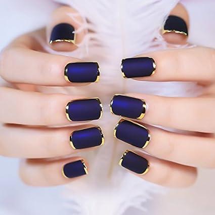 Yunai falsas uñas - 24pcs Mate con metálico falsa uñas de ...