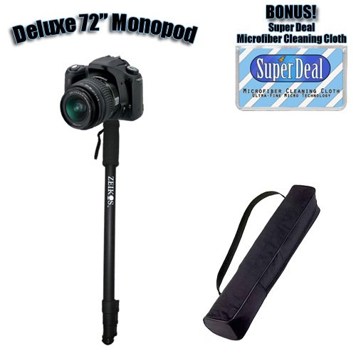 SUPER DEAL Professional 72 Inch Heavy Duty Monopod With Deluxe Soft Case For The Canon Powershot G1, G2, G3, G5, G6, Exclusive FREE Complimentary Micro Fiber Lens Cleaning Cloth - Lens Powershot G2