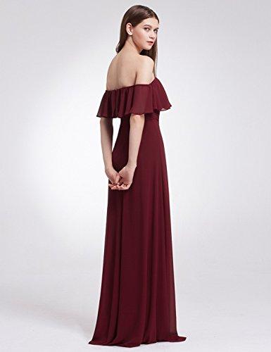 Floor Womens Bridesmaids Sleeveless Ever Elegant Chiffon Pretty Burgundy 07201 Ruffles A Length Dress xqy5RxBIwO