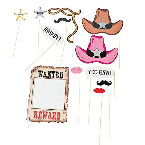 Fun Express Cardboard Western Accessories Costume Stick Props - 12 Pieces (Texas Best Ranch Girl)
