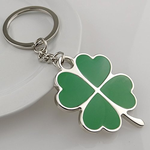 Ziaxa(TM) Stainless Green Leaf Keychain Fashion Creative Beautiful Four Leaf Clover Steel Lucky Key Chain Jewelry KeyR i ng ()