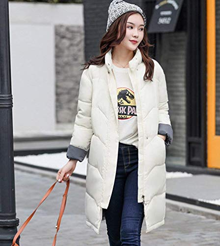 Coat Zipper Fit Collar Mode White Jacket Women's Pockets Comfortable with Sleeve Soft High Jacket Winter Autumn Coat Adelina Long Winter Quilted Coat Down Slim Down Side T1Swqf