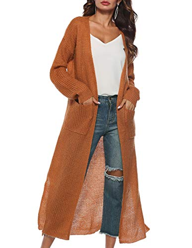 Womens Casual Long Sleeve V Neck Cardigan Coat Chunky Knit Cardigan Sweater Slit Long Duster Cardigan Pockets Yellow ()