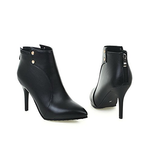 Women's Low Black Pointed WeenFashion Boots Toe Closed Spikes Solid Top Stilettos Pu dx7Pnxcw