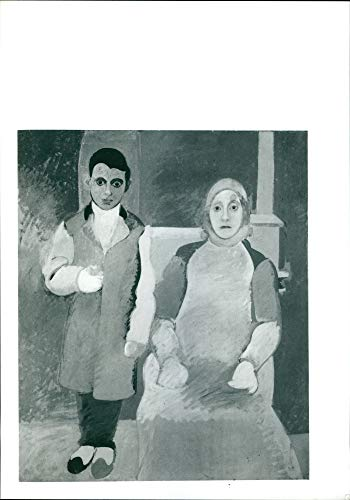Vintage photo of An artist and his mother by Arshile Gorky. (Arshile Gorky The Artist And His Mother)