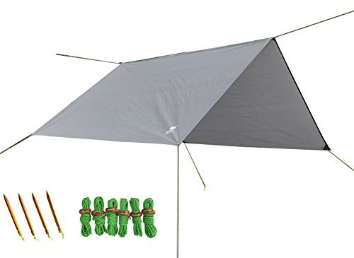 Geertop Tent Tarp Rain Fly Hammock Shelter Lightweight Waterproof 9ft x 7ft (300 x 220 cm) with Guy Lines and Pegs - For Outdoor Camping Hiking (Gray) (Purpose Shelter Hammock)