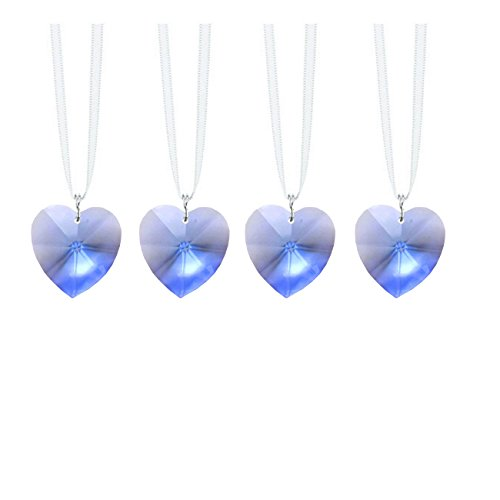 Swarovski Strass Prisms 4 Pcs Crystal Medium Sapphire Heart Prism SunCatcher, Ornaments Package Deal -