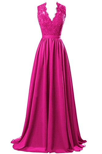 MARSEN Women's Modest V Neck Open Back Chiffon Long Evening Gown with Lace Fuchsia Size 2