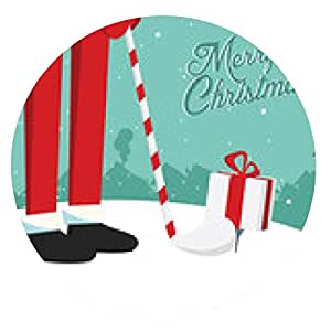 alfombrilla de ratón Divertido feliz época retro de Navidad de Santa Claus Postal de golf - ronda - 20cm
