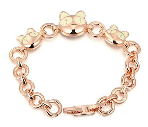 Epink, Femme Cha?ne Bracelets Plaqu¨¦ Or Or Rose Un Chat T¨ºte Cut 18.1*1.7Cm