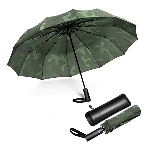 Jiguoor 12 Ribs Windproof Travel Umbrella Compact and Sturdy Fast Auto Open/Close w/Large Waterproof Teflon Coating + FREE Folding Leather Case Best Gift(Camouflage)