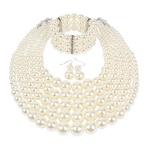 (KOSMOS-LI Multi Layer Pearl Strand Necklace Bracelet and Earring Faux Ivory Pearl Jewelry Set)