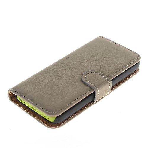 MOONCASE Etui Housse Cuir Portefeuille Case Cover Pour Apple iPhone 5C Beige