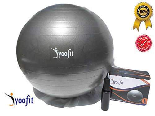 Yoofit Sports Stability Ball with Pump - Premium Anti-Burst 65cm Balance Balls for Core Fitness Strength workout, Yoga, Pilates and CrossFit Training Exercise