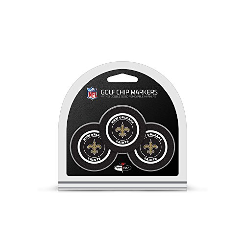 Team Golf NFL New Orleans Saints  Golf Chip Ball Markers (3 Count), Poker Chip Size with Pop Out Smaller Double-Sided Enamel Markers
